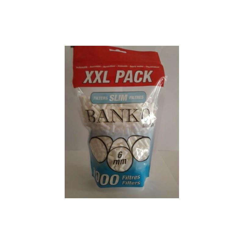 Lot 10 Sachets 1000 Filtres à cigarettes slim BANKO 6mm